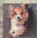 Art piece of Corgi titled 'Picasso's Dog'
